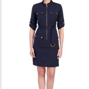 Sharagano Cargo-Pocket Belted Shirt Dress